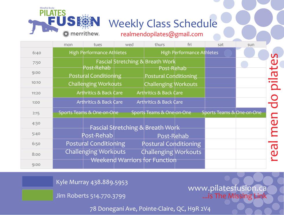 Men's Class Schedule 2020